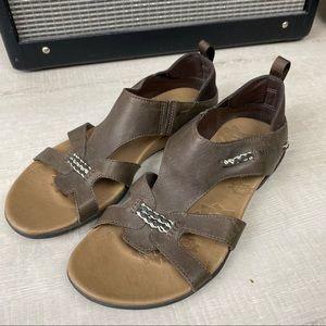 Merrell Flaxen Espresso Brown Leather Sandal 8